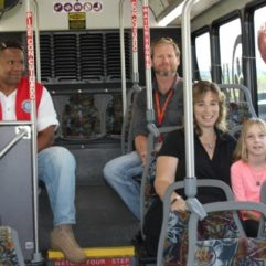 Commissioner Thompson with patients and veterans on LYNX bus to Lake Nona