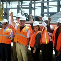 Mayor Jacobs and employees at Citrus Bowl Beam Raising Ceremony