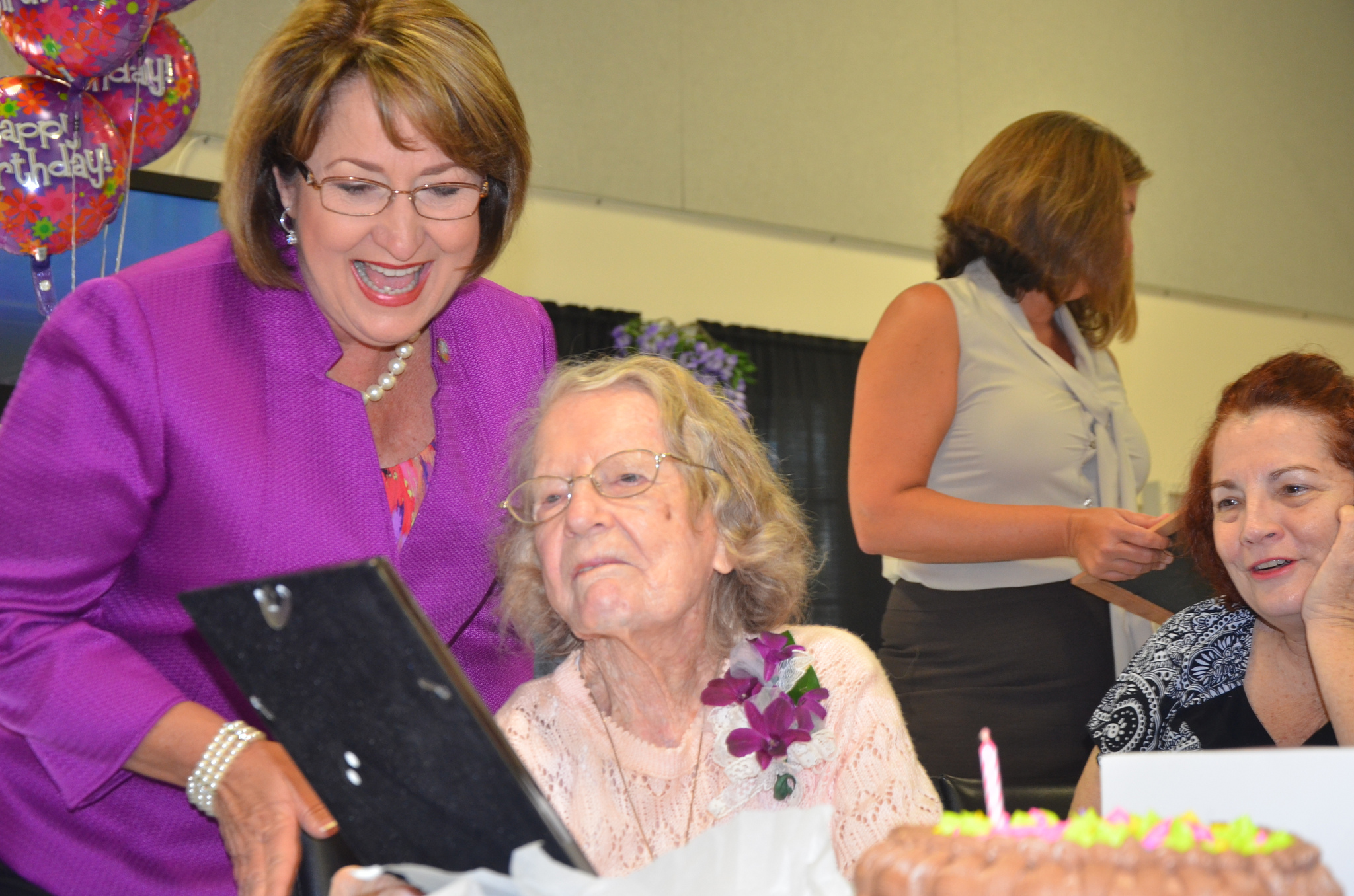 "Mayor Jacobs with ""newest centenarian"""