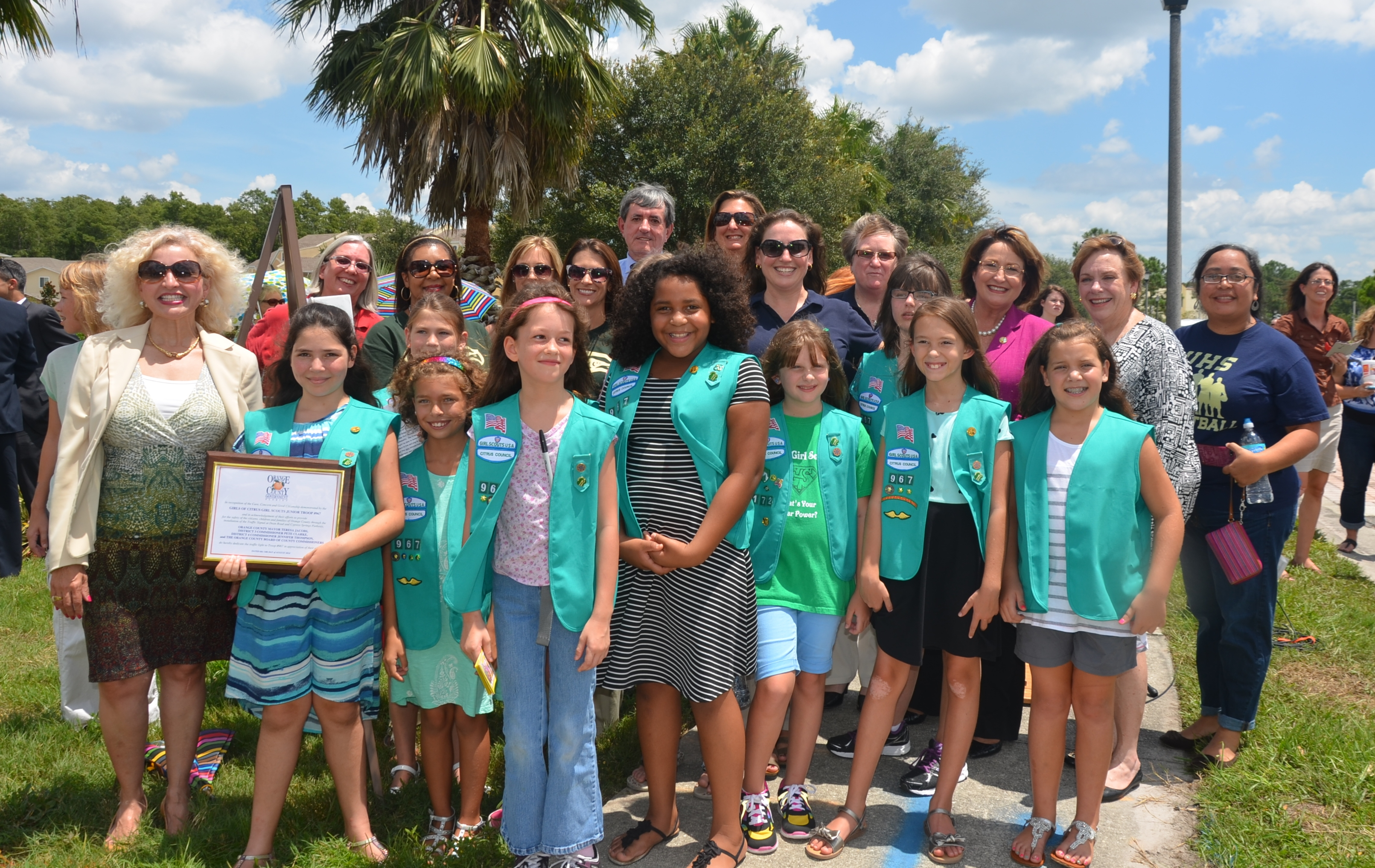 Mayor Jacobs with Girl Scouts