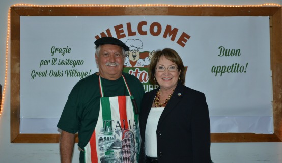 Mayor Jacobs with restaurant owner