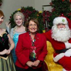 Mayor Jacobs with holiday characters