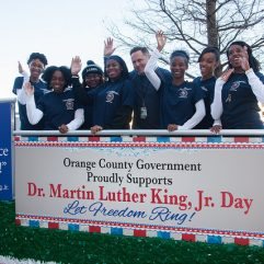 Orange County employees on the MLK Parade float