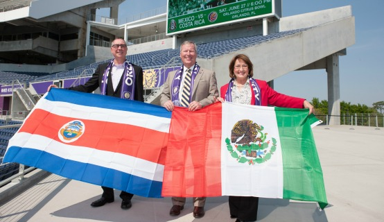 Mayor Jacobs and Mayor Dyer at soccer stadium
