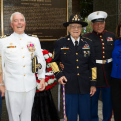 Mayor Jacobs with personnel honoring Memorial Day