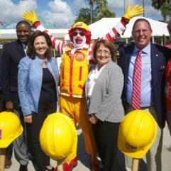 Mayor Jacobs, Ronald McDonald and personnel at McDonalds