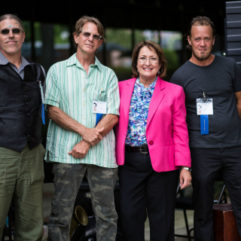 Mayor Jacobs and personnel at the inaugural OC Sculpture Exhibit opening