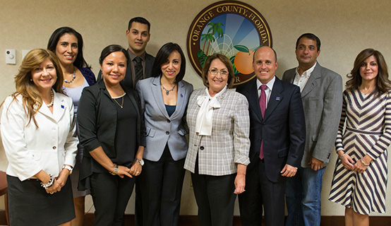 Mayor Jacobs with Hispanic Business Initiative Fund Leaders
