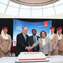 Mayor Jacobs and Emirates personnel at Orlando International Airport