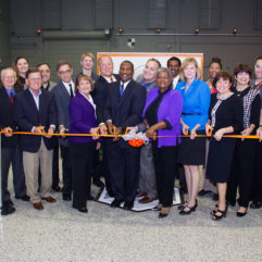 Mayor Teresa Jacobs and community leaders cut the ribbon for Orange County Public Schools' new Tech Centers Launch Site