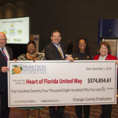 El Orange County Supera la Meta de Recaudar $574,855 para Heart of Florida United Way en 2016