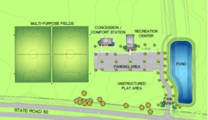A rendering of the East Orange District Park Recreation Center.