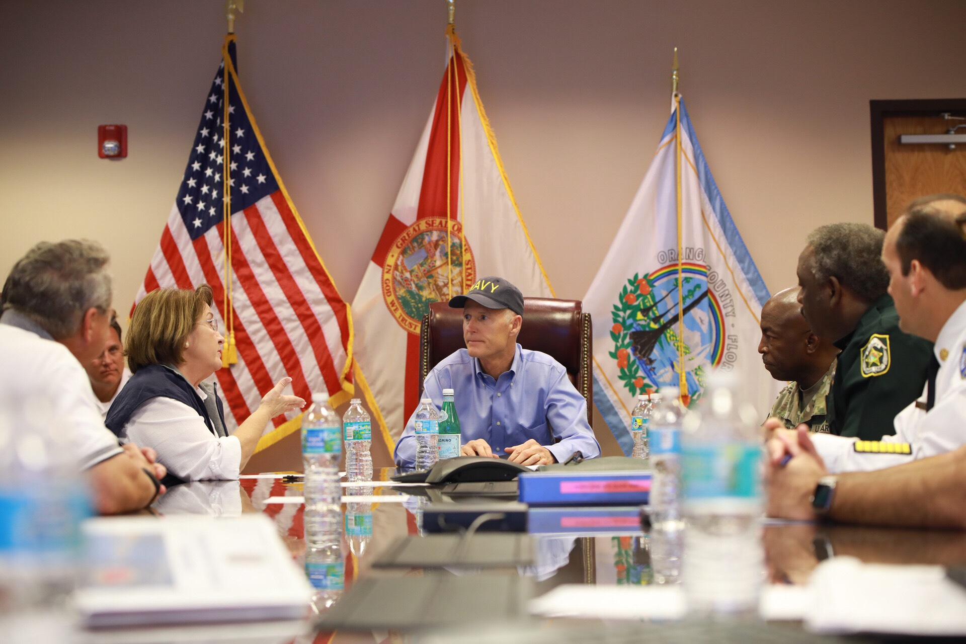 Rick Scott and Mayor Jacobs during emergency preparedness briefing