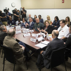 Mayor Jacobs with Gov. Scott at a roundtable on Puerto Rico Relief Efforts