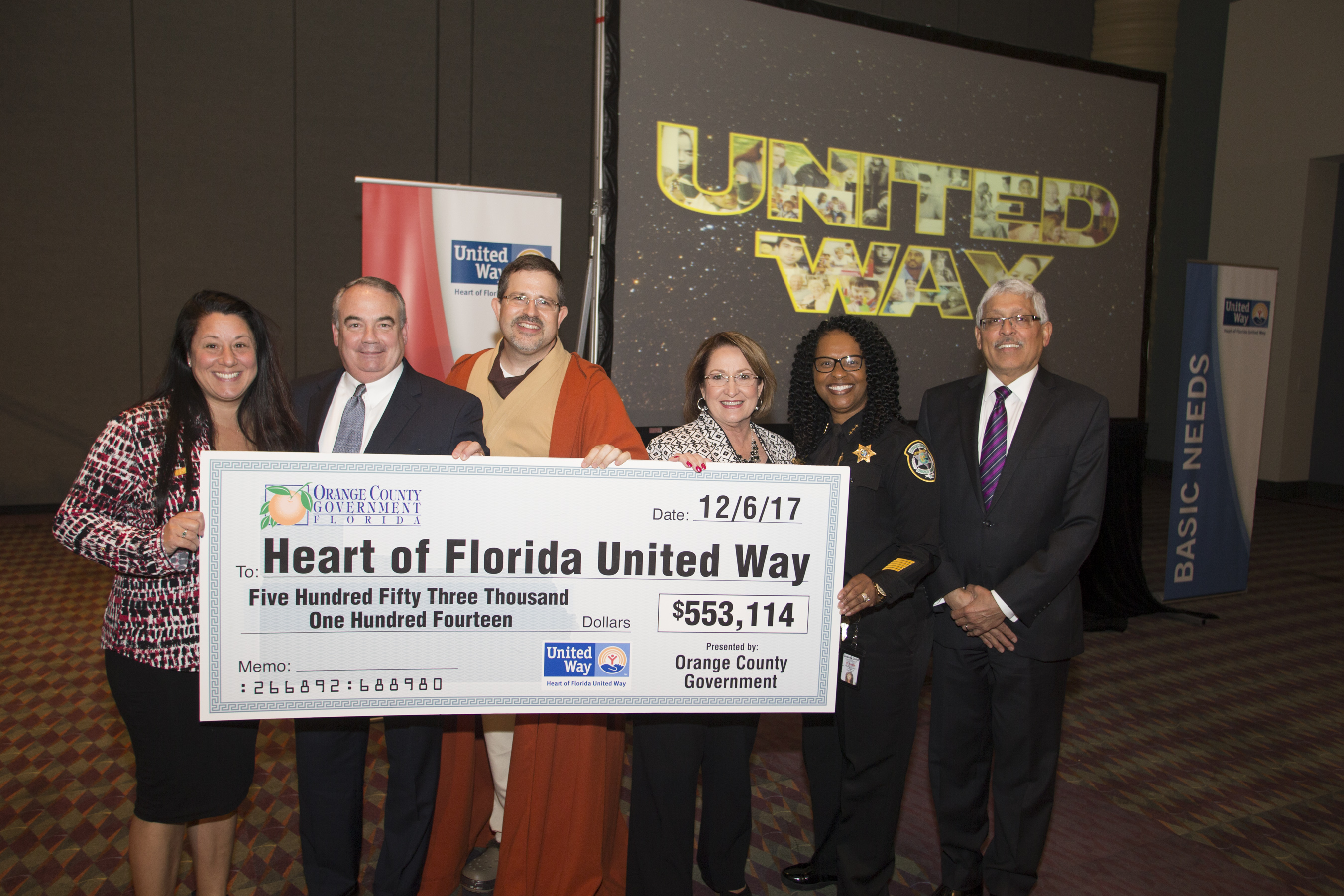 Mayor Teresa Jacobs and Orange County employees with total money raised