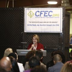 Mayor speaking at job fair