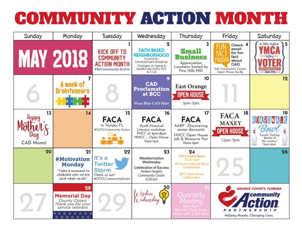 Community Action Month calendar
