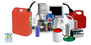 Photo featuring examples of Household Hazardous Waste: gas cans, cleaners, spray cans, paint, computer and monitor..