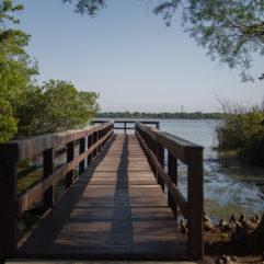Fotografía del muelle de un lago