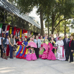 Group photo with county leaders, the hispanic heritage committee, and performers