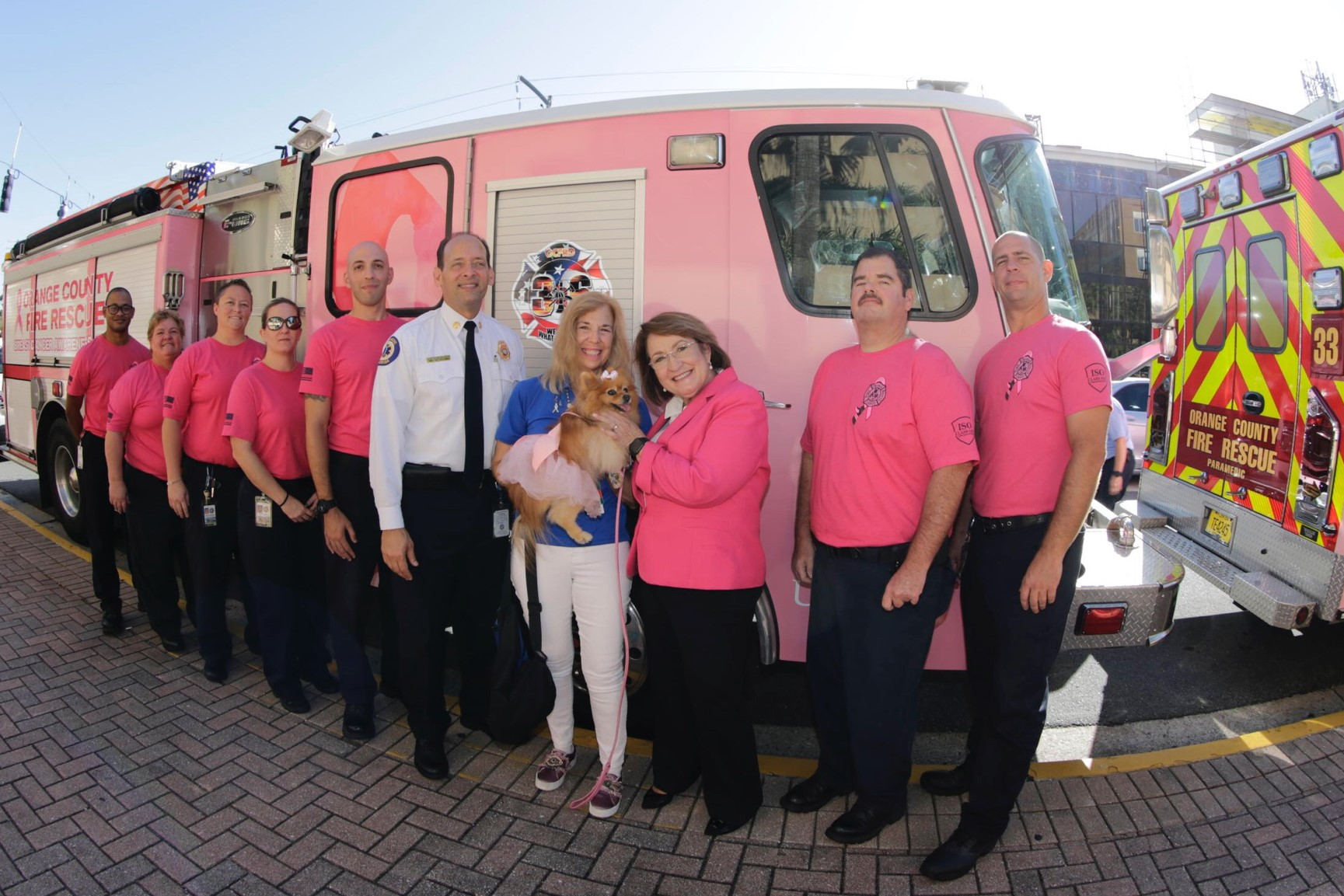 Mayor Jacobs and other leaders wearing pink shirts, holding a dog in front of a pink bus