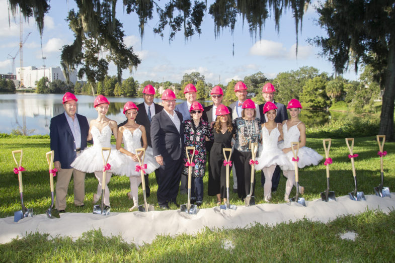 Mayor Jacobs, Orlando ballet leaders and ballerinas at a groundbreaking ceremony holding shovels
