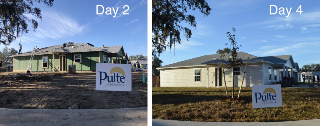 A progress photo of a home on day two and day four of building. The home is under construction on day two and complete on day four.