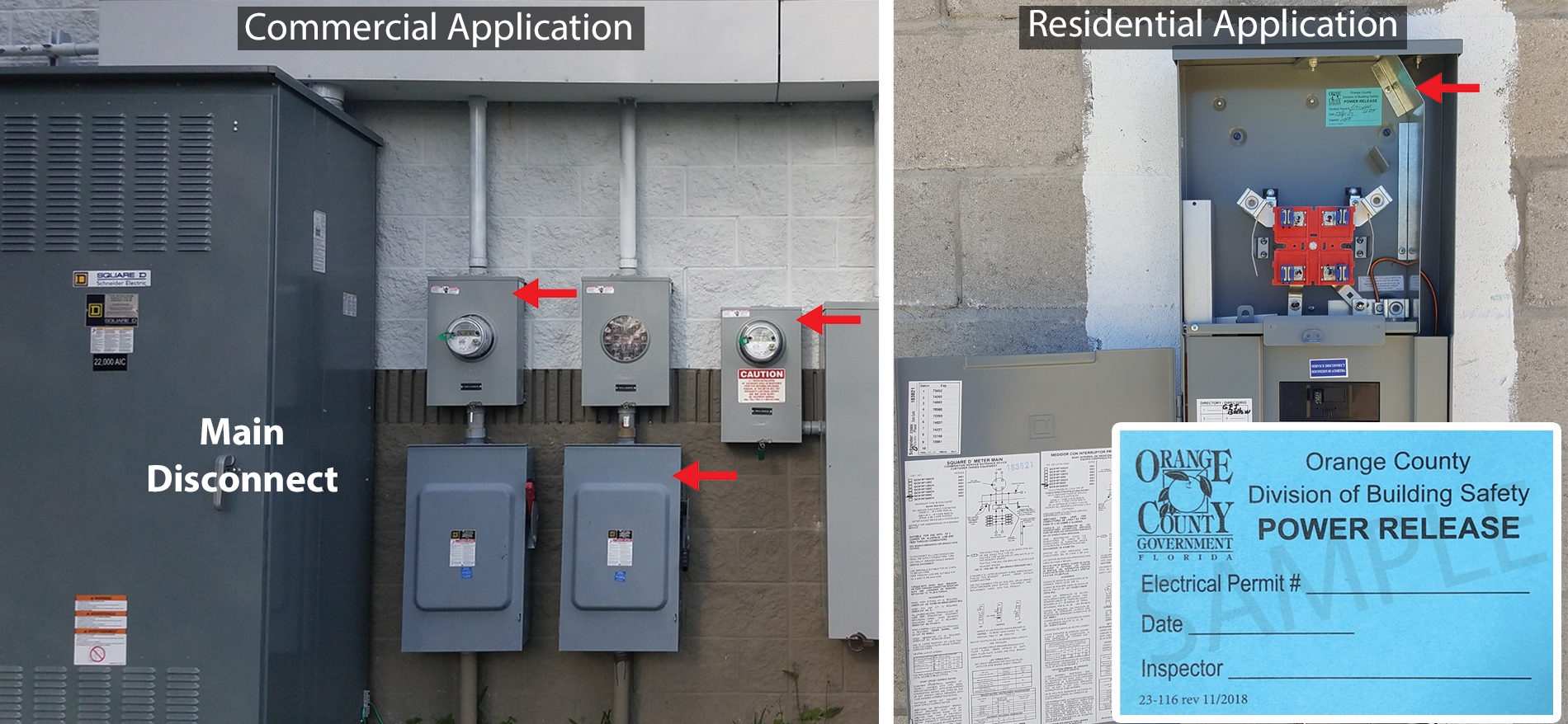 "A graphic with arrows pointing to locations where a blue ""Power Release"" label should be adhered inside of a meter base or main disconnect."