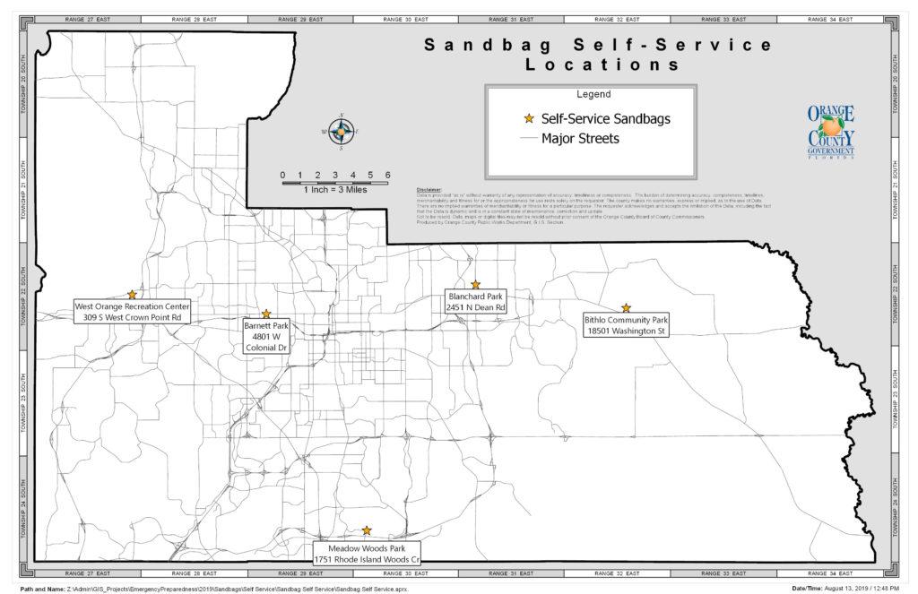 L-shaped map of self-serve sandbag sites in Orange County