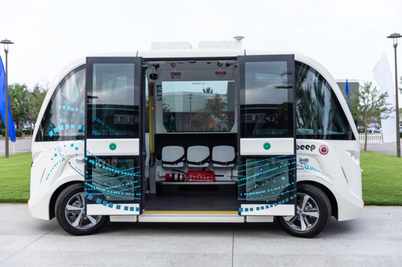 Beep's autonomous vehicle parked with its doors open