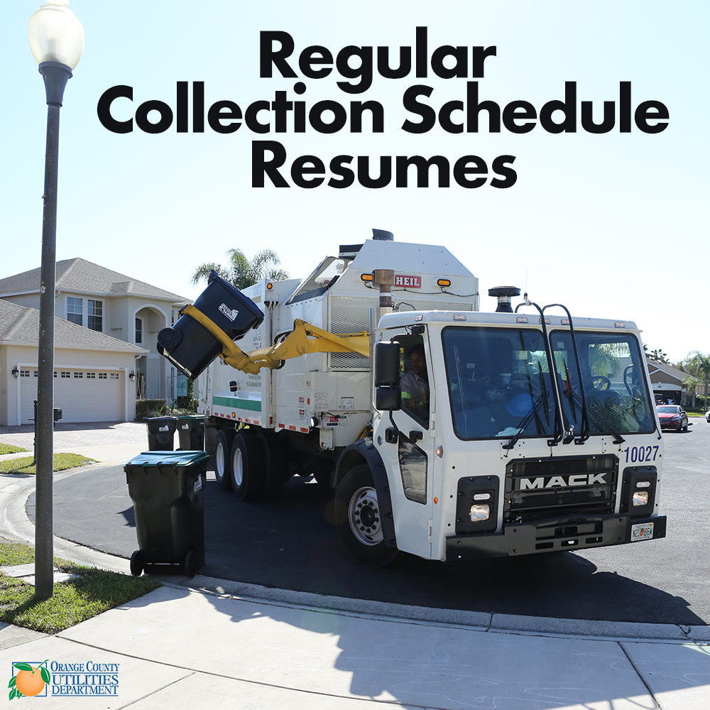 Regular Collection Schedule Resumes with a picture of an truck collecting a recycling cart.