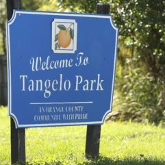 "A photo of the ""Welcome to Tangelo Park"" sign"