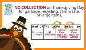 Cartoon turkey wearing a pilgrim hat and a calendar with a reminder that there is no curbside collection on Thanksgiving Day.