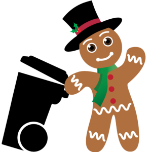 Gingerbread boy with a a roll cart