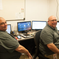 Amateur radio operators Michel Cauley and John Knott int he EOC