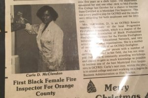 A newspaper clipping of Carla McClendon being selected as fire inspector.