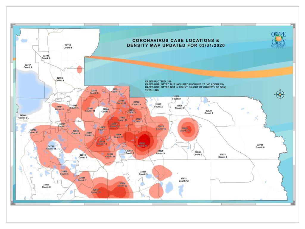 Mapa de casos en el Condado de Orange, FL, desde el 31 de marzo de 2020, que muestra las regiones del condado donde se encuentran los casos de Coronavirus. En términos generales, los casos están concentrados en la región oeste y centro del condado.