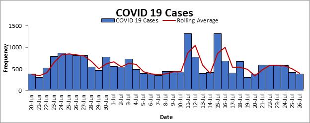 Gráfico de casos COVID-19