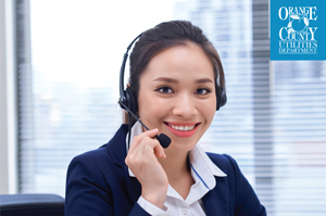 Friendly customer service agent wearing a headset