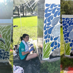 Collage image of girl painting leaves, water and a bird on a traffic box.