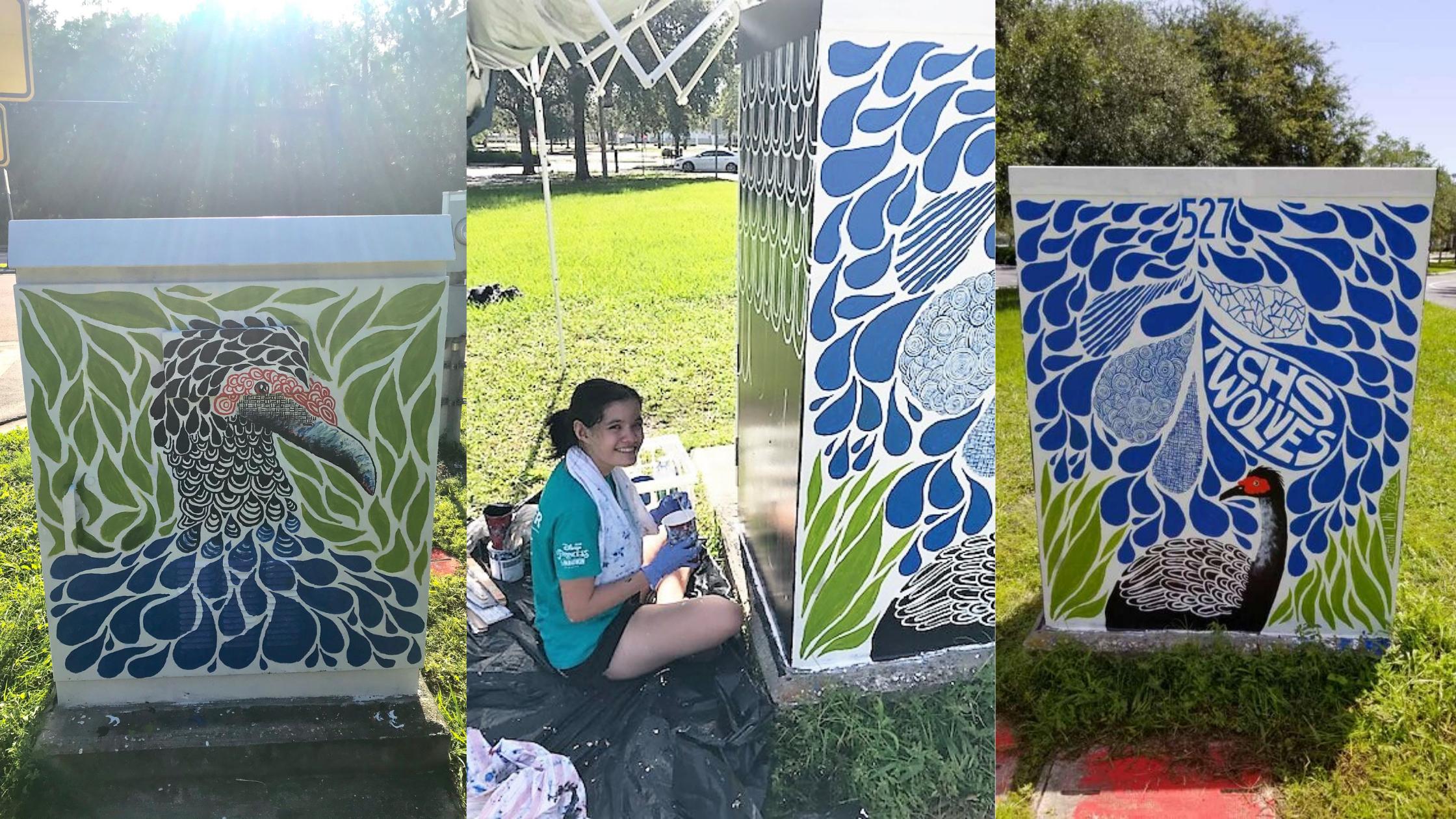 Collage de imágenes de la muchacha pintando hojas, agua y un pájaro en una casilla de tráfico.