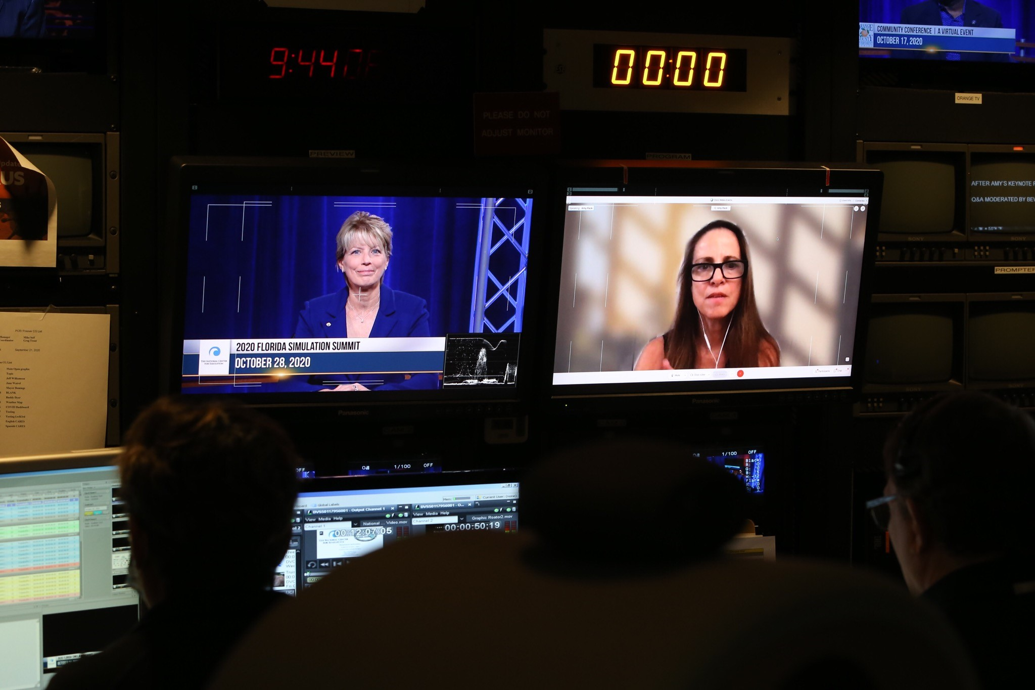 tv screen with two women panelists