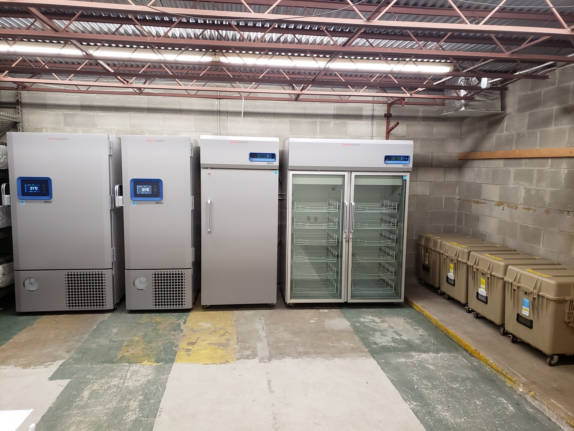 Industrial freeezers stored in a warehouse