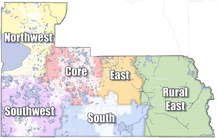 Map of the six market areas in the county including Northwest, southwest, core, south, east and rural east