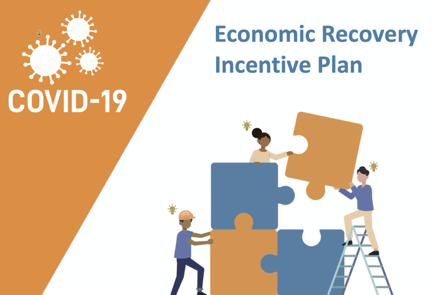 color graphic of people putting puzzle pieces together, with text COVID-19 Economic Recovery Incentive Plan