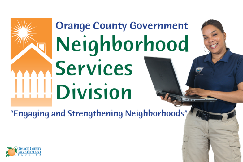 Neighborhood Services Division Logo with woman holding a computer