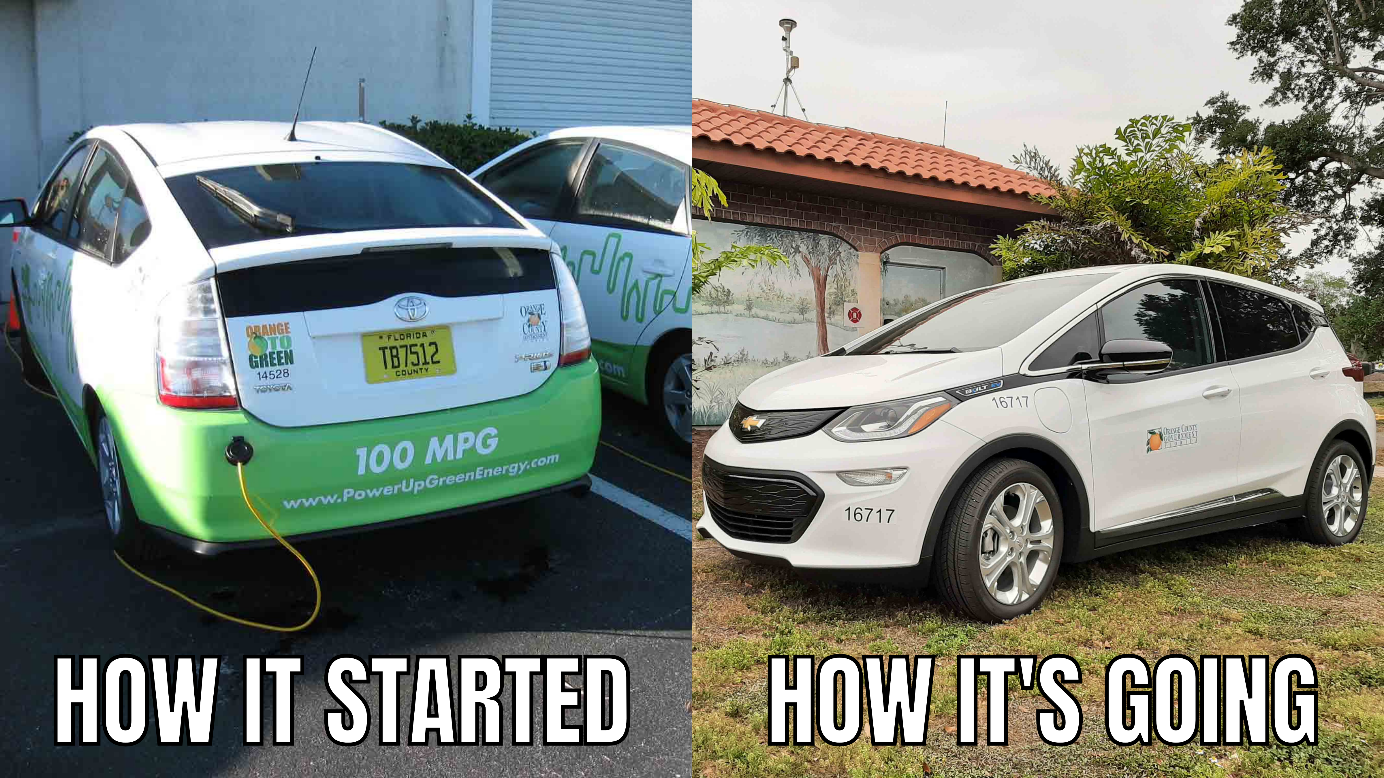 Side by side of older electric vehicles next to the new Chevy Bolt