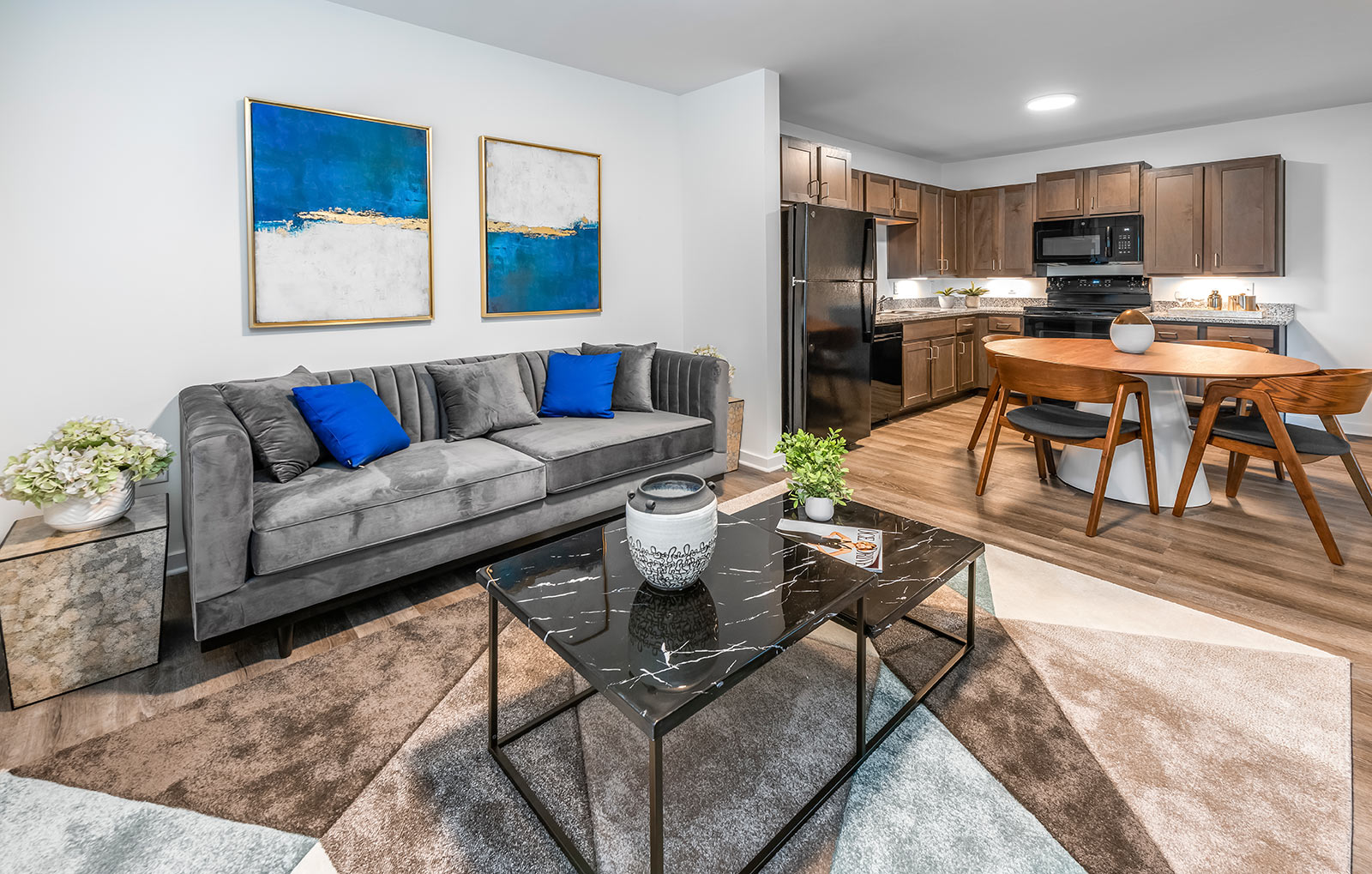 staged living area of affordable housing unit